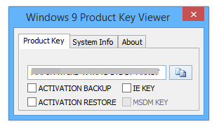Windows 9 Product Key Viewer 1.4.9d